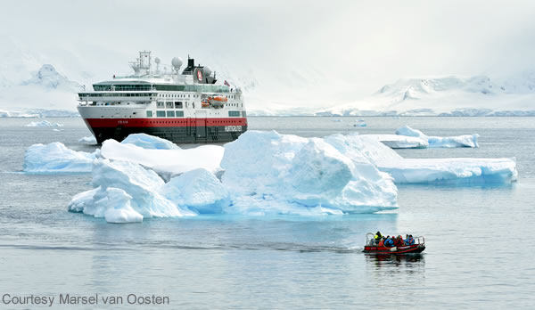 The MS Fram in Antarctica at Curville Island