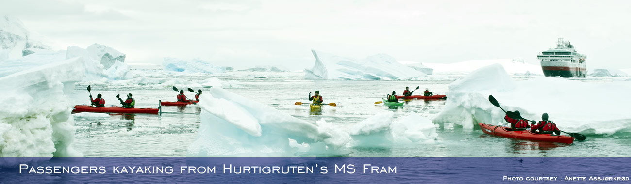 Passengers kayaking from Hurtigruten's MS Fram