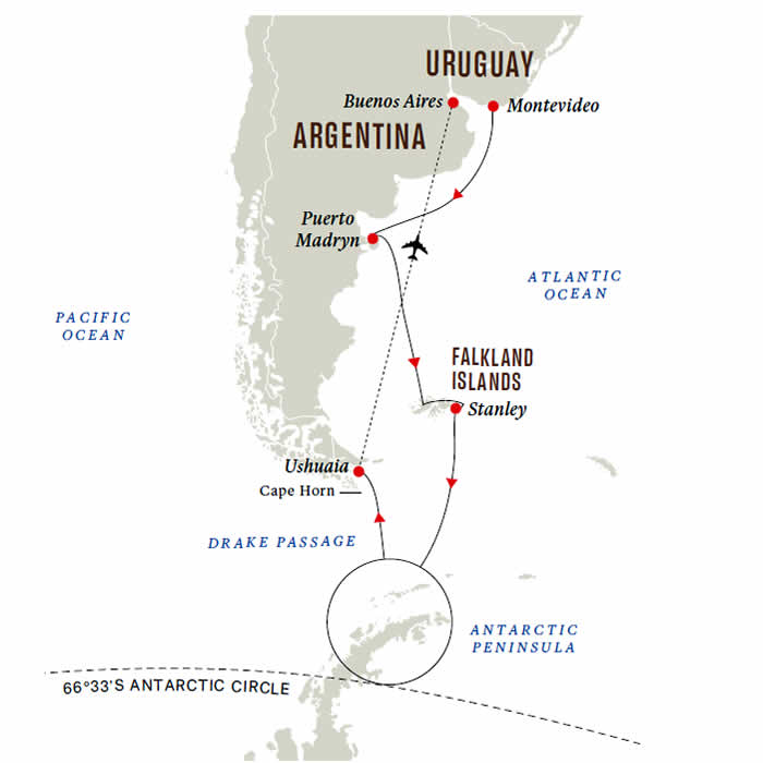 Southern hemisphere Adventure to Antarctica Map